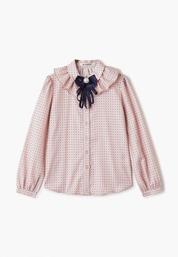 блузка vitacci для девочки, розовая