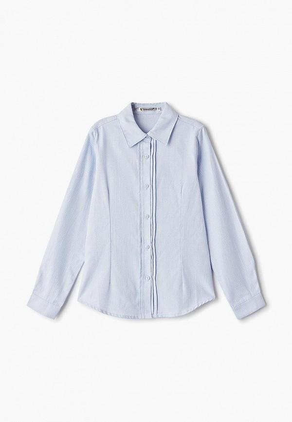 рубашка vitacci для девочки, голубая