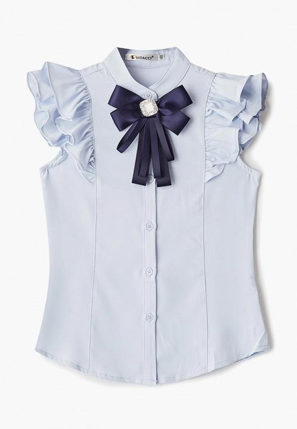 блузка vitacci для девочки, голубая