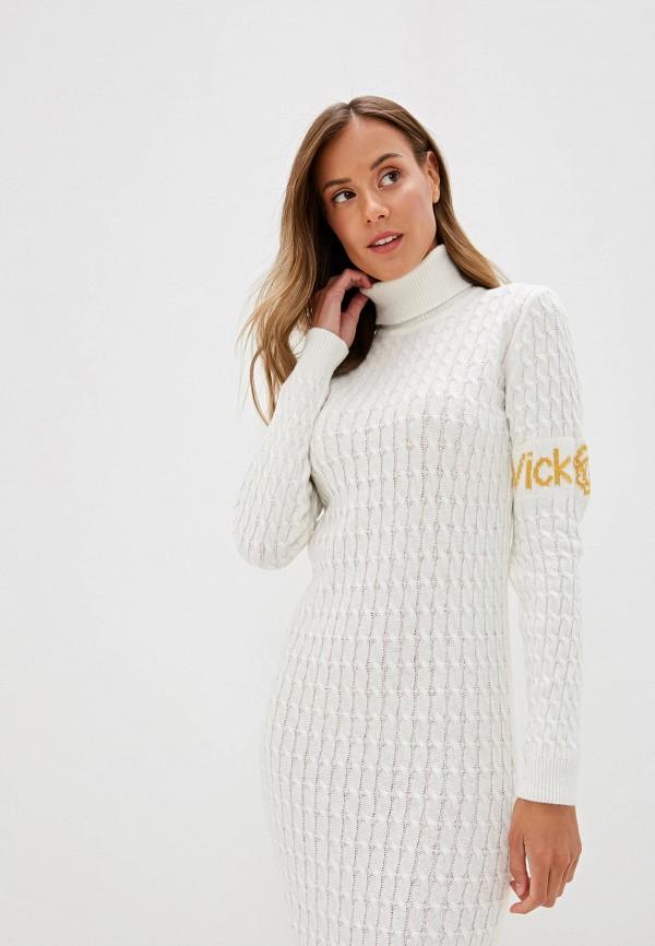 Белое вязаное платье фото зима