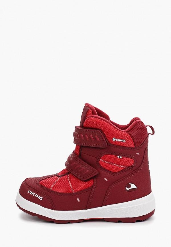 ботинки viking для девочки, красные