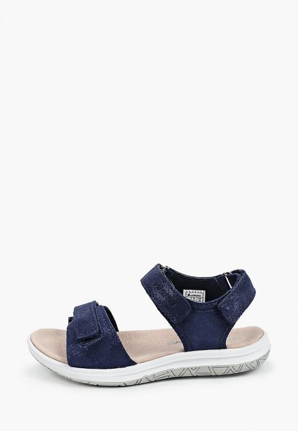 сандалии viking для девочки, синие