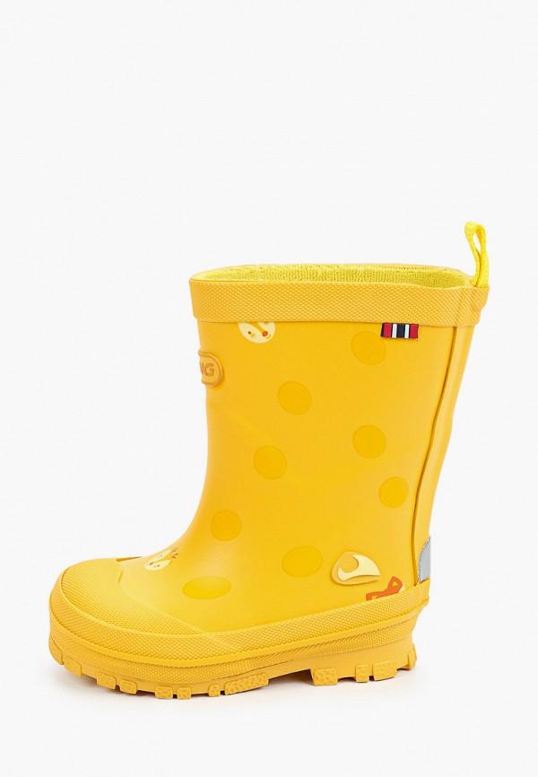 резиновые сапоги viking для девочки, желтые