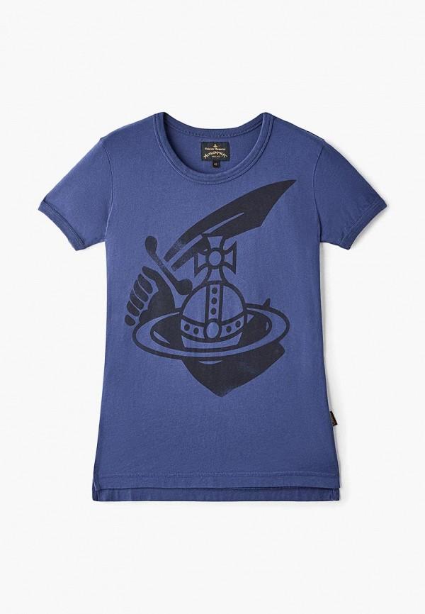 женская футболка vivienne westwood anglomania, синяя