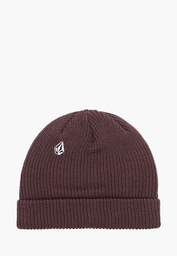 женская шапка volcom, коричневая