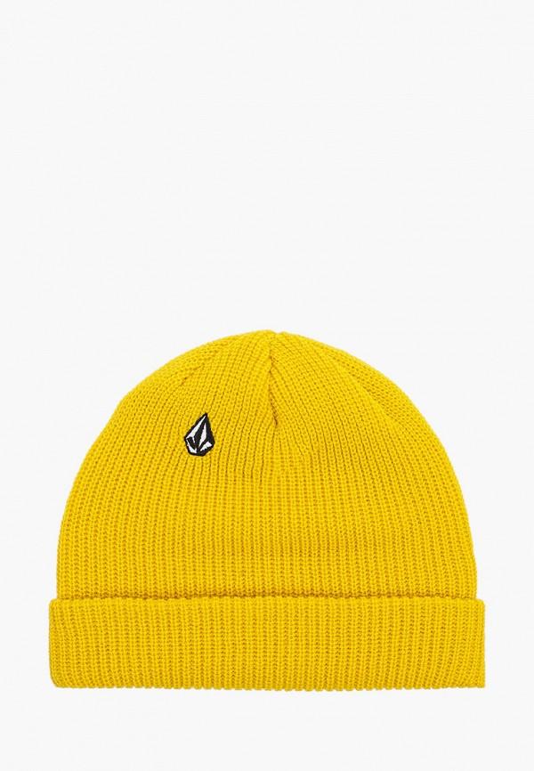 женская шапка volcom, желтая