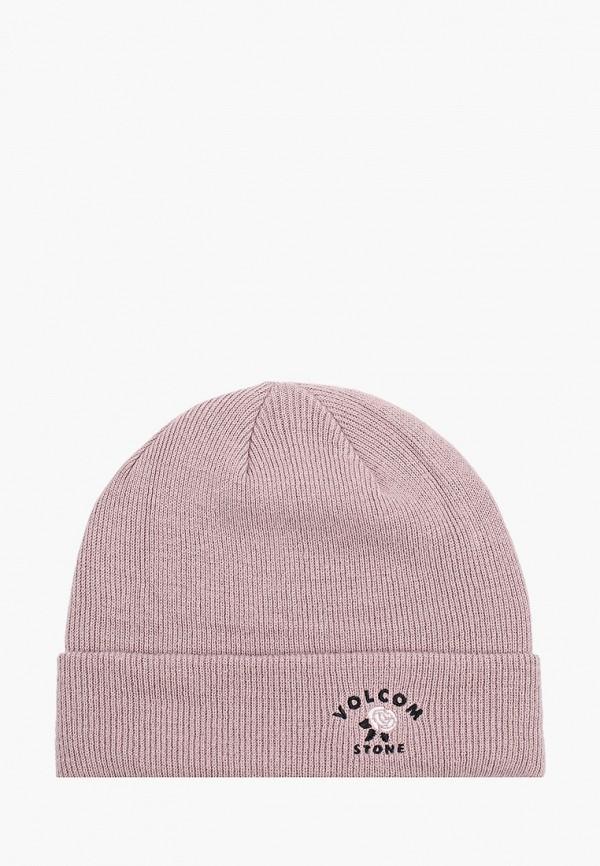 женская шапка volcom, розовая