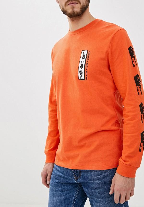 мужской лонгслив volcom, оранжевый