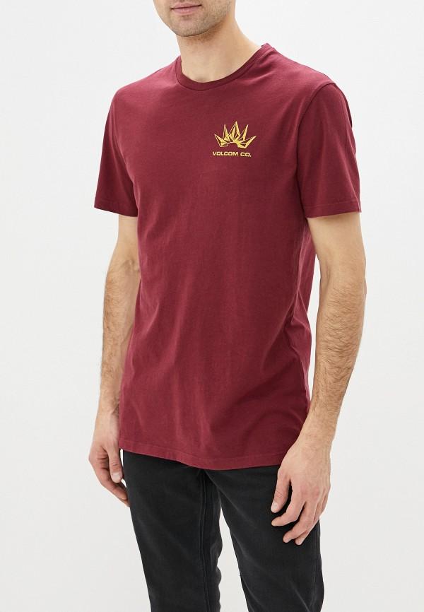 мужская спортивные футболка volcom, бордовая