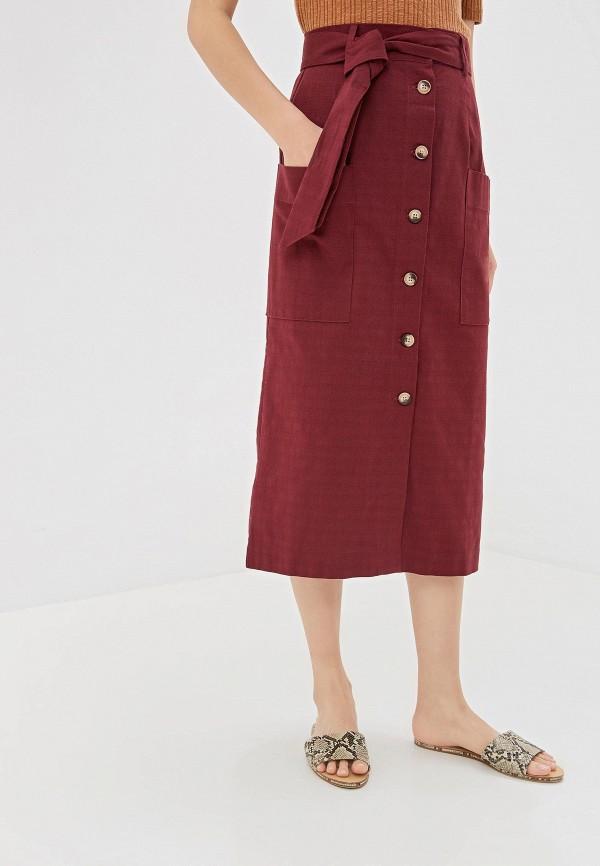 женская прямые юбка warehouse, бордовая