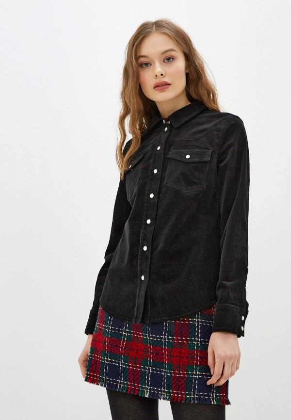 женская рубашка с длинным рукавом warehouse, черная