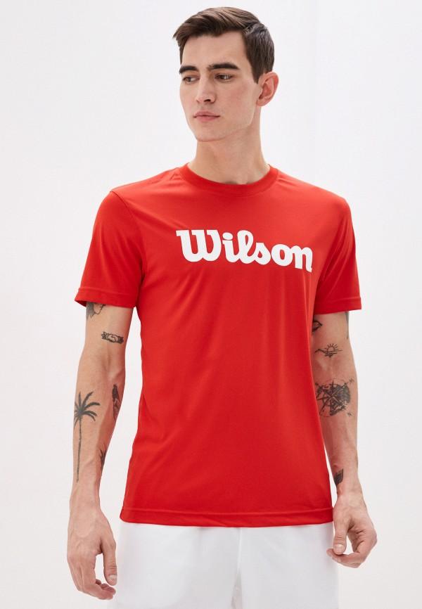 мужская футболка с коротким рукавом wilson, красная