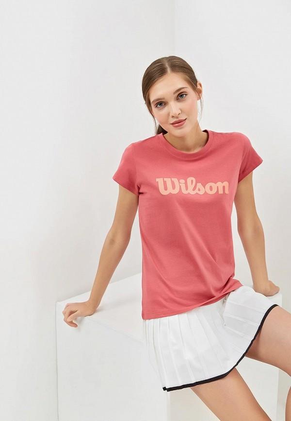 женская спортивные футболка wilson, розовая