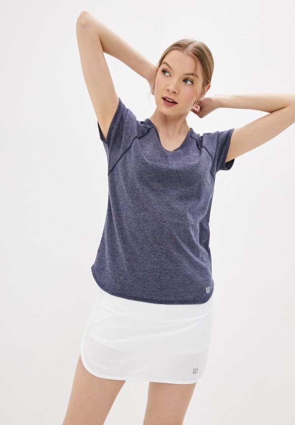 женская спортивные футболка wilson, синяя
