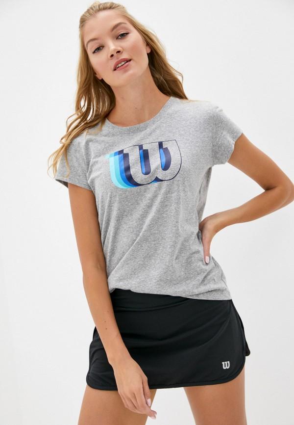 женская спортивные футболка wilson, серая