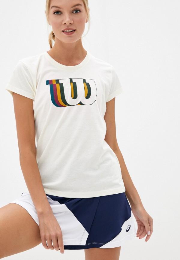 женская спортивные футболка wilson, бежевая