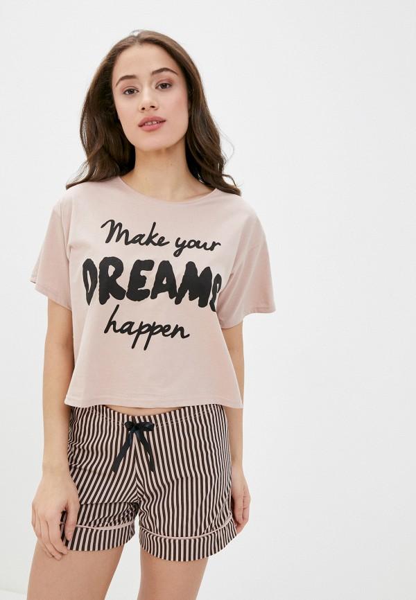 женская футболка winzor, коричневая