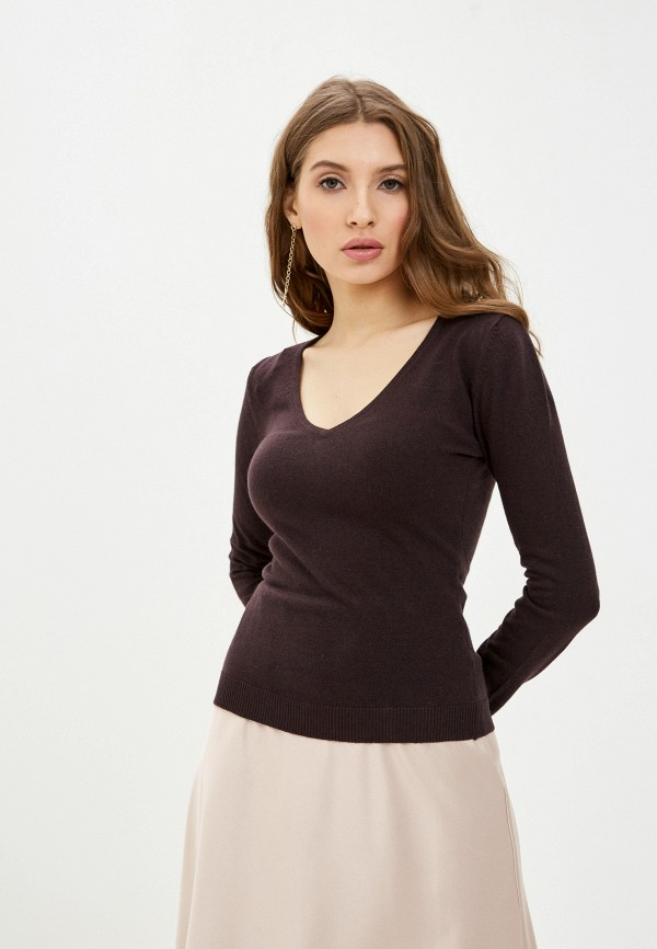 женский пуловер william de faye, коричневый