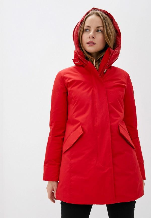 женский пуховик woolrich, красный