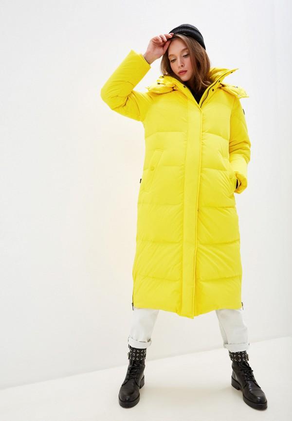 женский пуховик woolrich, желтый