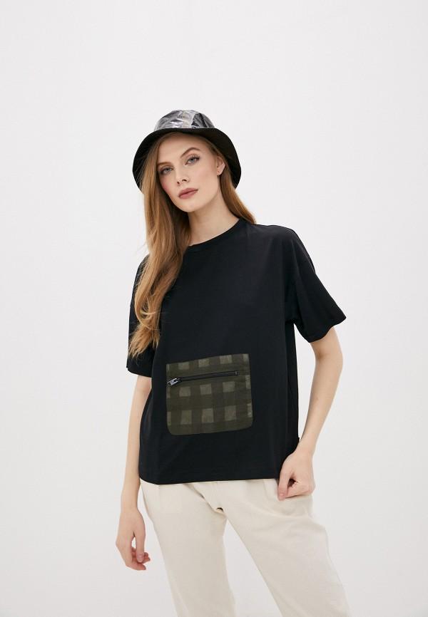 женская футболка woolrich, черная