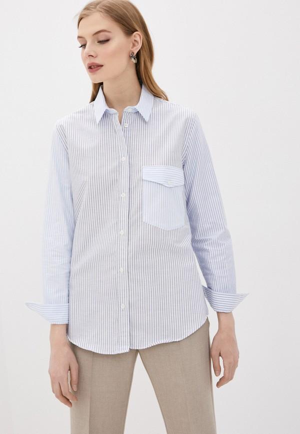 женская рубашка с длинным рукавом woolrich, голубая