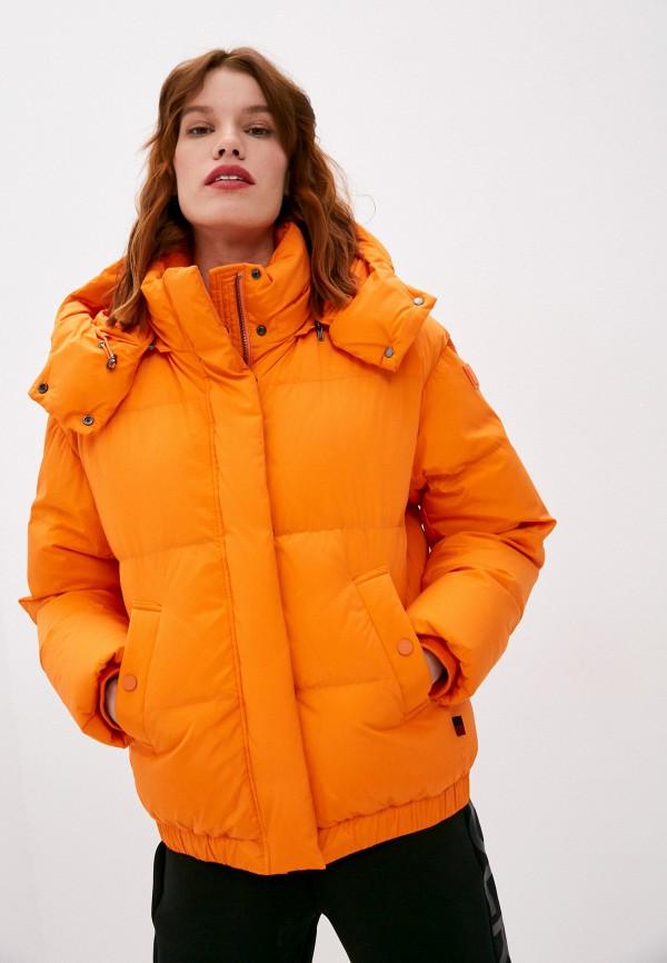 женский пуховик woolrich, оранжевый