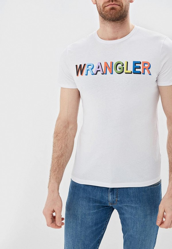 мужская футболка с коротким рукавом wrangler, белая