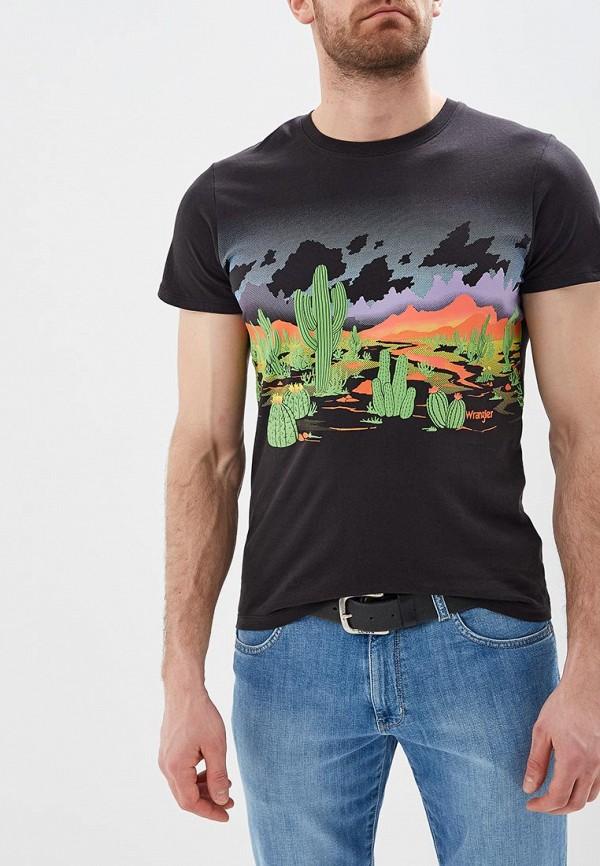мужская футболка с коротким рукавом wrangler, черная