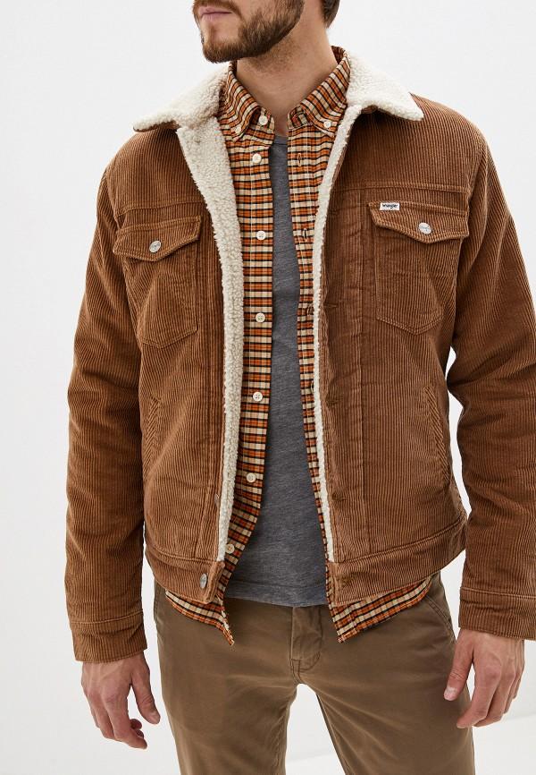 мужская утепленные куртка wrangler, коричневая