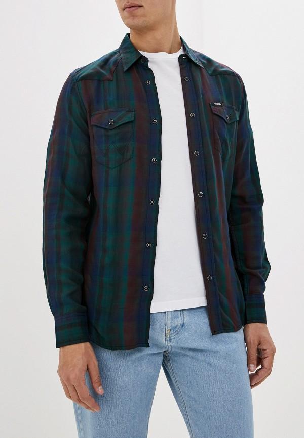 мужская рубашка с длинным рукавом wrangler, зеленая