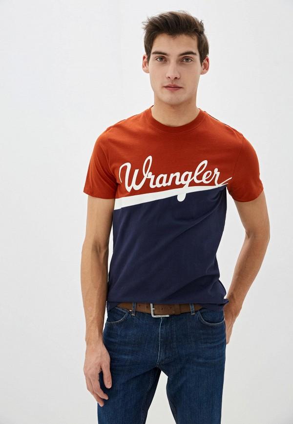 мужская футболка с коротким рукавом wrangler, синяя
