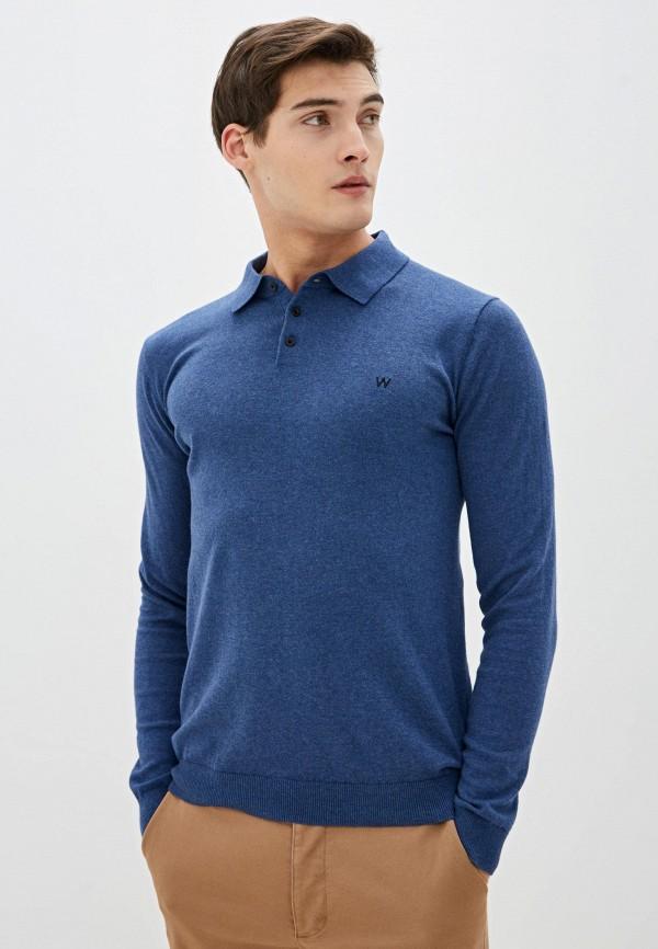 мужское поло с длинным рукавом wrangler, синее