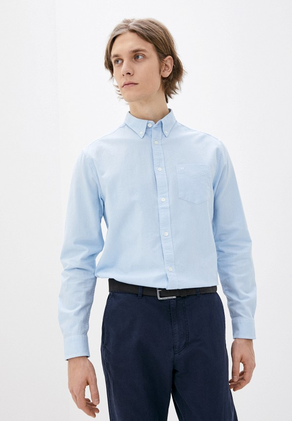 мужская рубашка с длинным рукавом wrangler, голубая