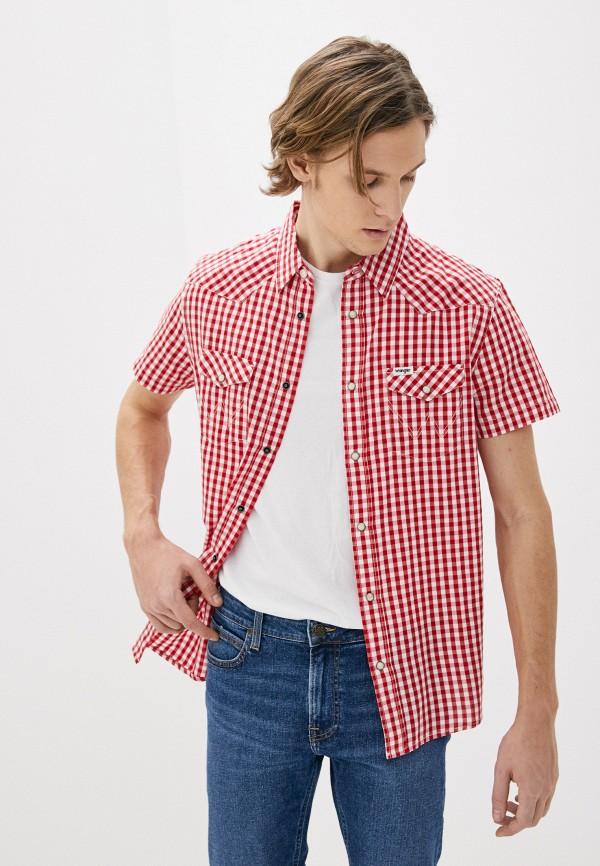 мужская рубашка с коротким рукавом wrangler, красная