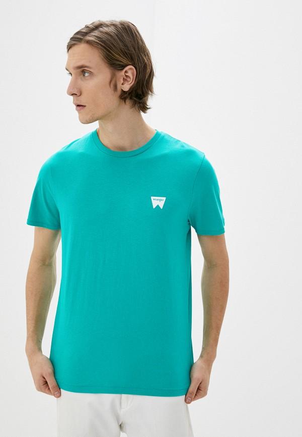 мужская футболка с коротким рукавом wrangler, зеленая