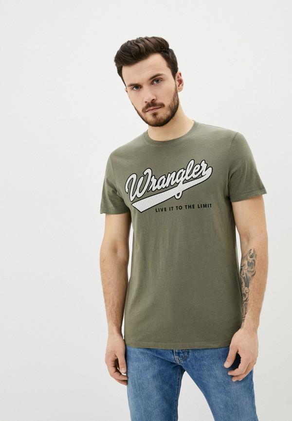 мужская футболка с коротким рукавом wrangler, хаки