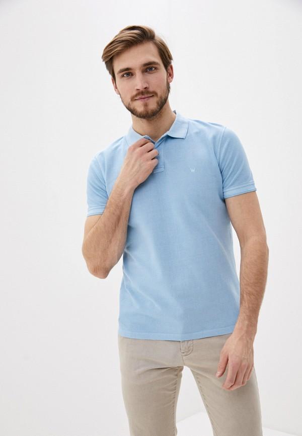 мужское поло с коротким рукавом wrangler, голубое