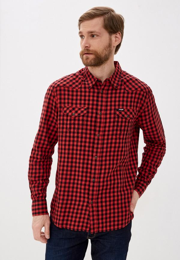 мужская рубашка с длинным рукавом wrangler, красная