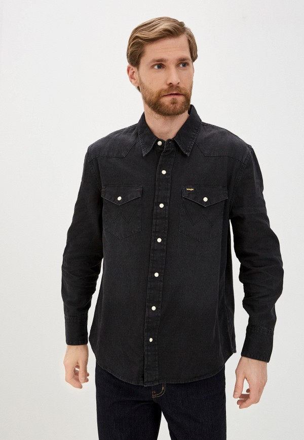 мужская джинсовые рубашка wrangler, черная