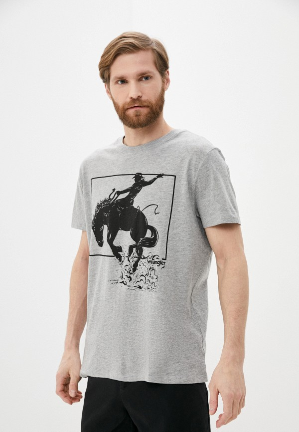 мужская футболка с коротким рукавом wrangler, серая