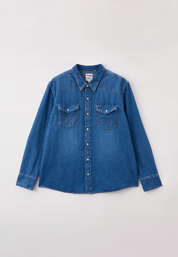мужская джинсовые рубашка wrangler, синяя