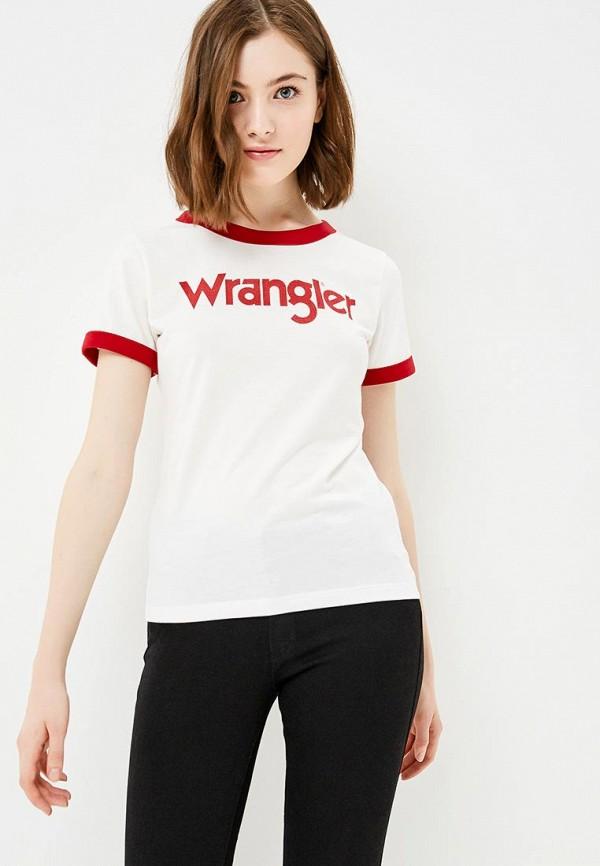женская футболка с коротким рукавом wrangler, белая