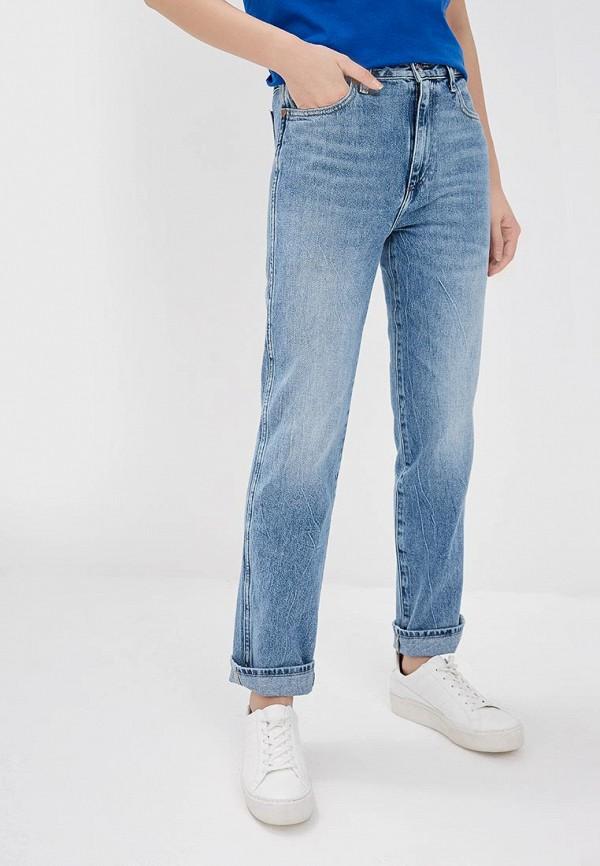 женские джинсы бойфренд wrangler, голубые