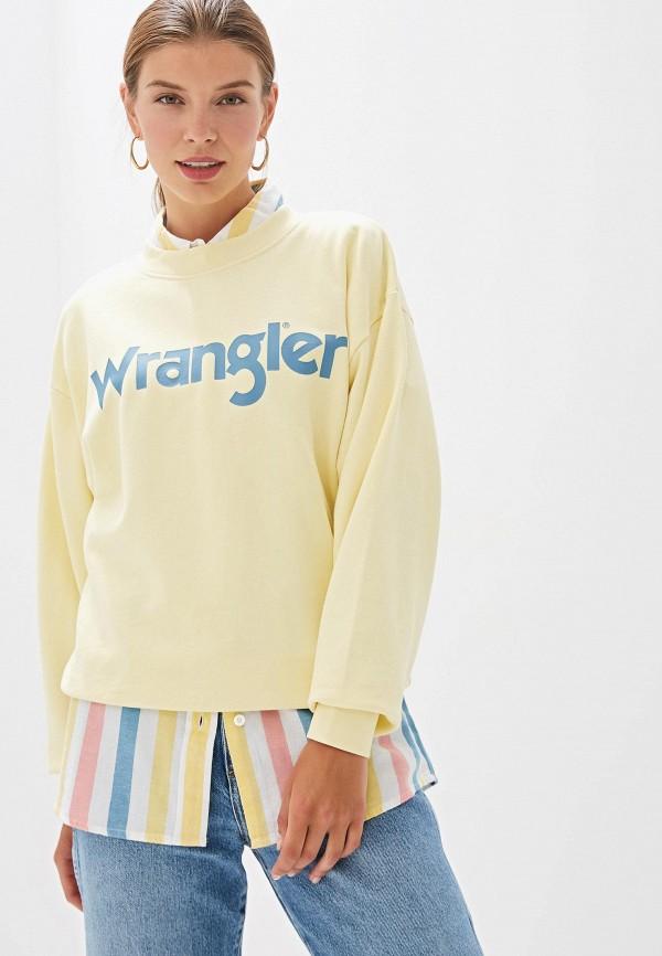 женский свитшот wrangler, желтый