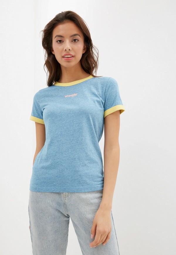 женская футболка wrangler, голубая