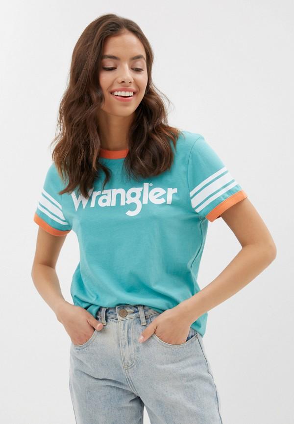 женская футболка wrangler, бирюзовая