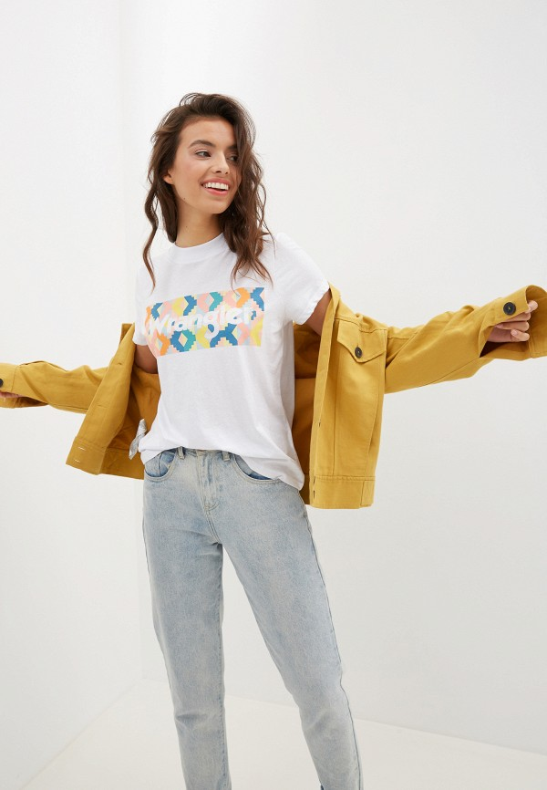 женская футболка wrangler, белая
