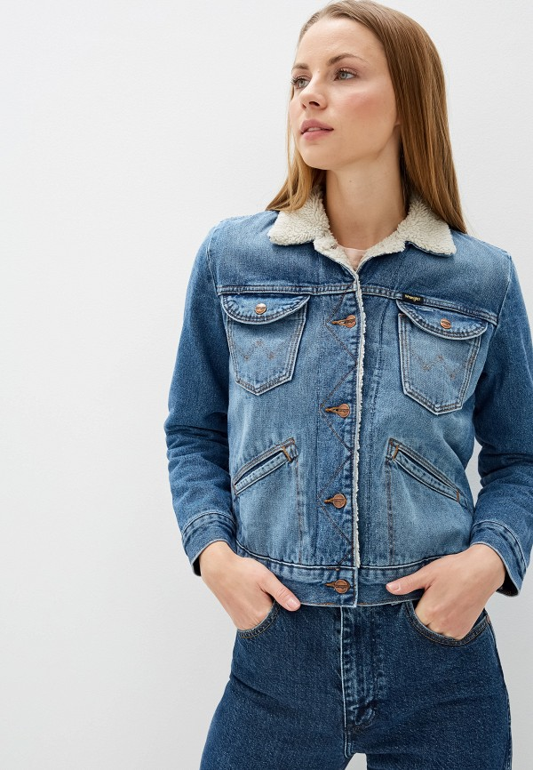 женская джинсовые куртка wrangler, голубая