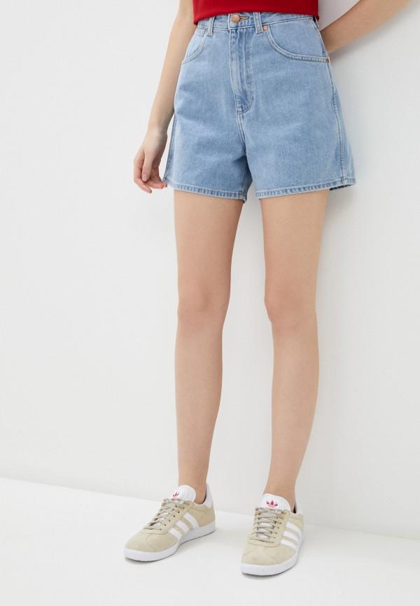 женские джинсовые шорты wrangler, голубые